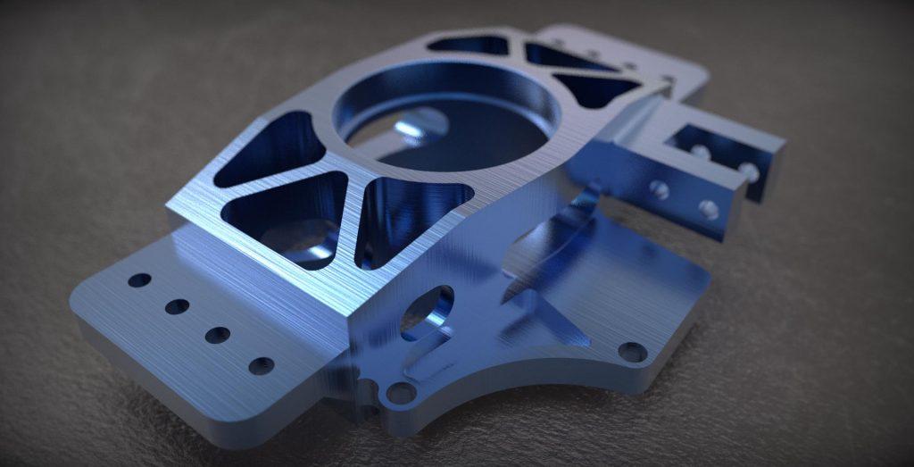 3D Render Anodized Aluminum Upright