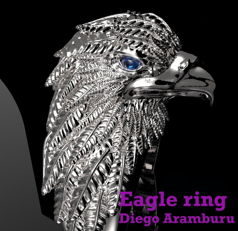 silver eagle ring cad design