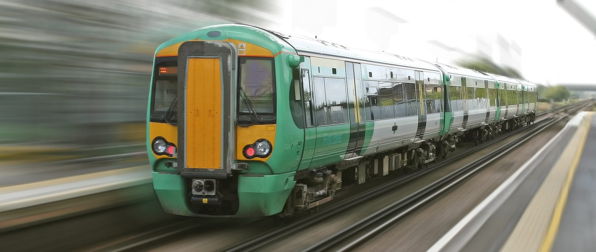 A train speeding along a track