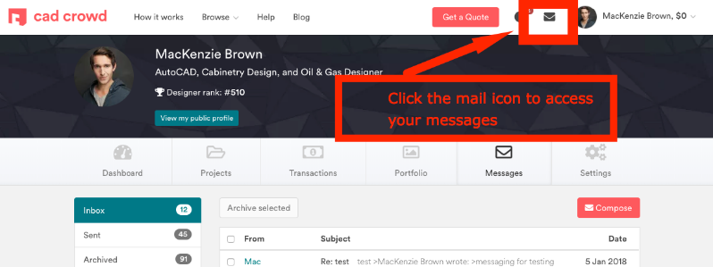 Access Your Private Messages on Cad Crowd