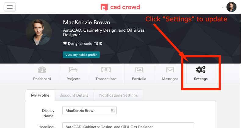 manage your user account settings on cad crowd