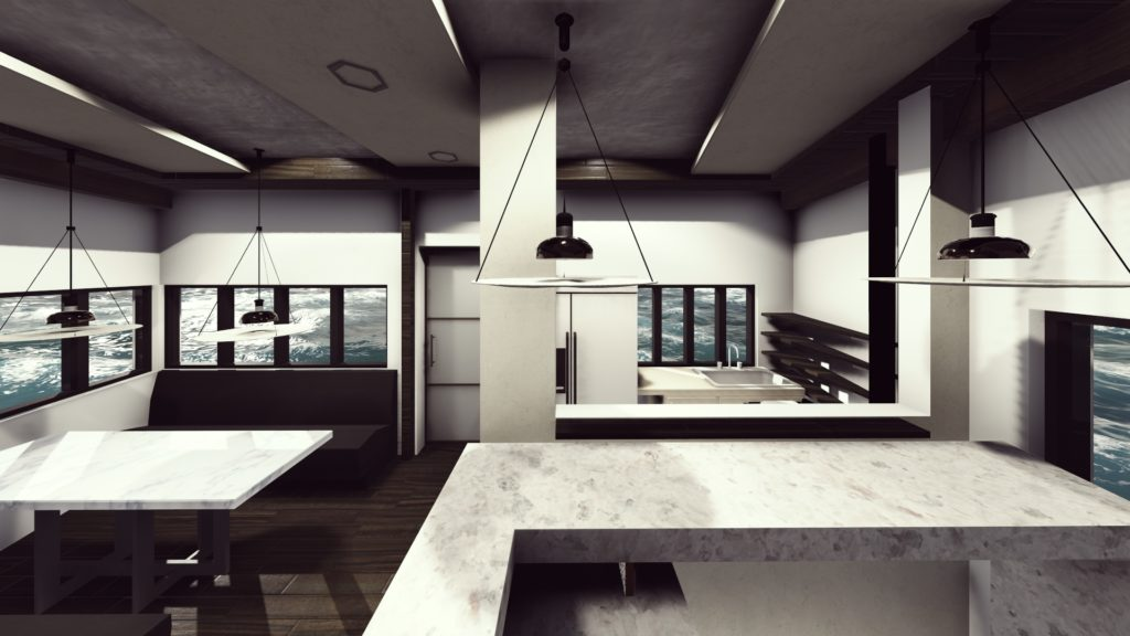 yacht interior 3D modeling and CAD design plans