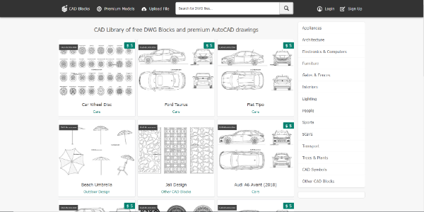 CAD Blocks – Free and paid 3D assets
