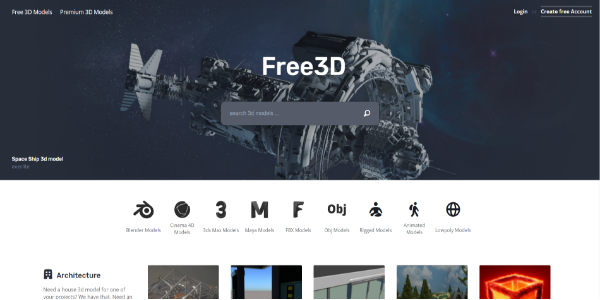 Free3D – Free and paid 3D assets