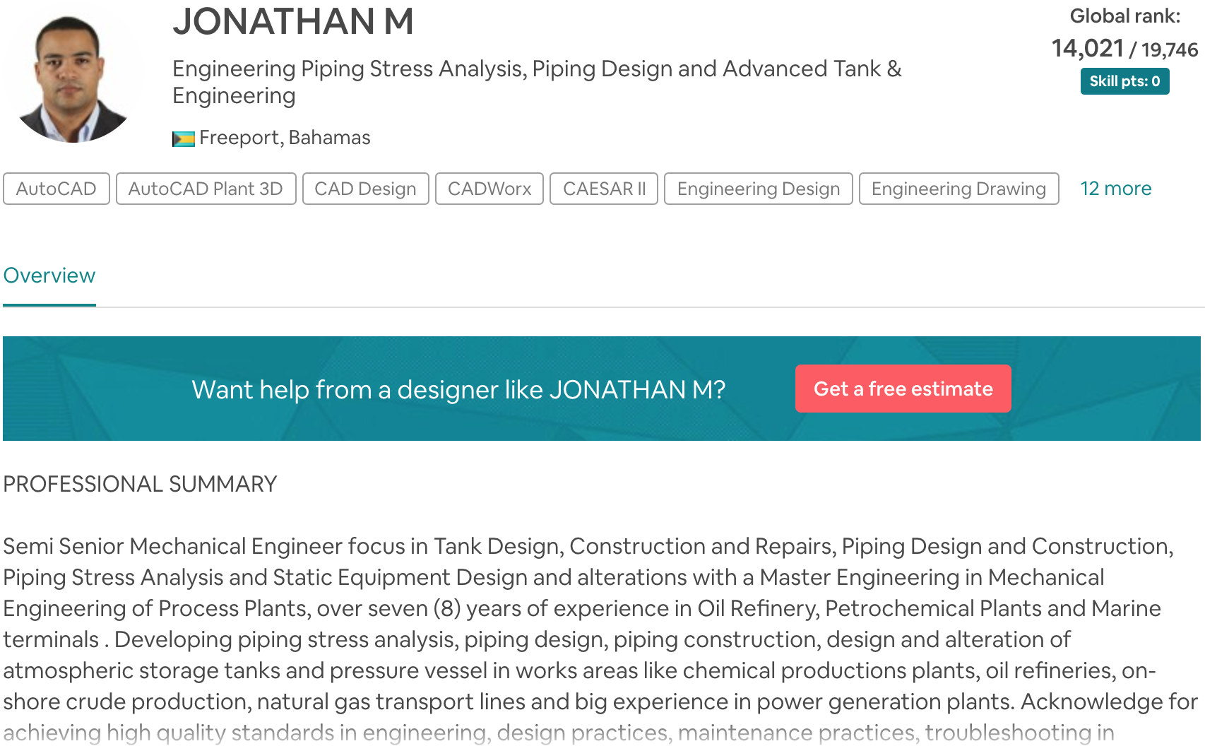 JONATHAN M Engineering Piping Stress Analysis, Piping Design and Advanced Tank and Engineering