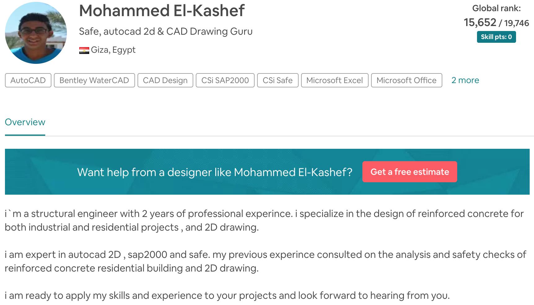 Mohammed El-Kashef Safe, autocad 2d and CAD Drawing Guru
