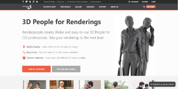 Renderpeople – Free and paid 3D assets