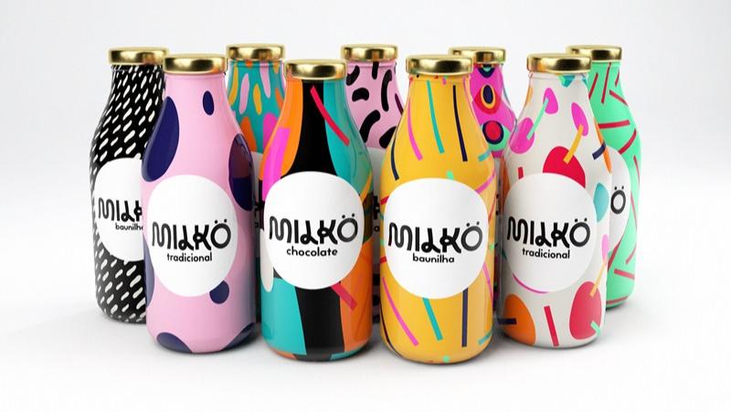 colorful milk packaging