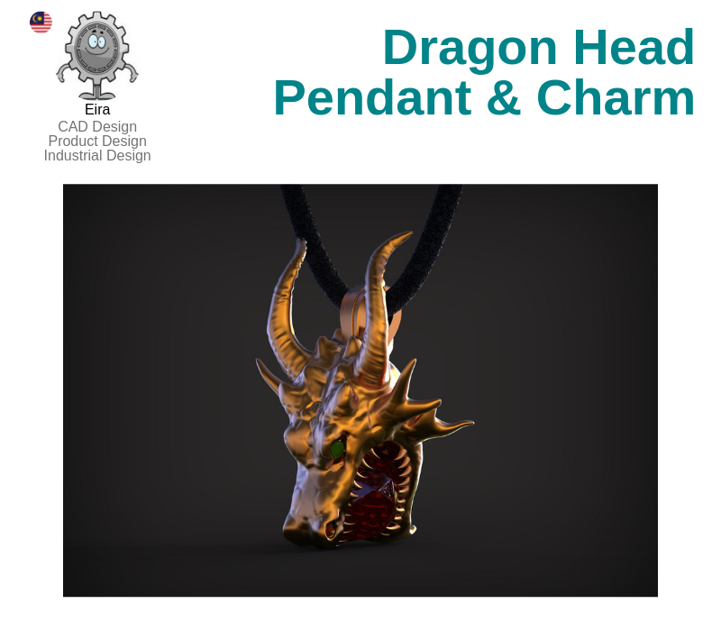 A photo of the Dragon Head Pendant and Charm.
