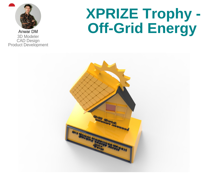 A photo of the XPRIZE Trophy for Off-Grid Energy created on SolidWorks.
