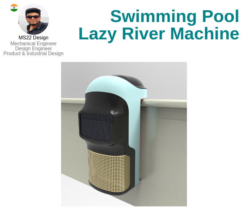 A photo of the Swimming Pool Lazy River Machine created on AutoCAD and Creo Parametric.