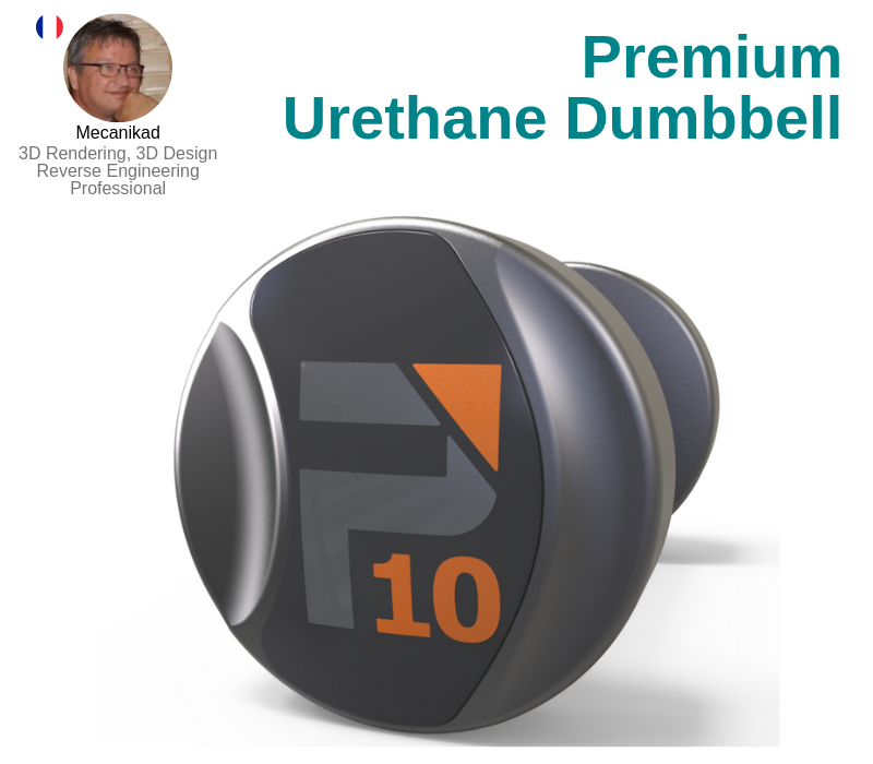 A photo of the Premium Urethane Dumbbell created on SolidWorks.