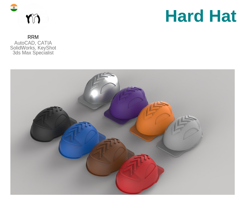 A photo of the Hard Hats created on CATIA.