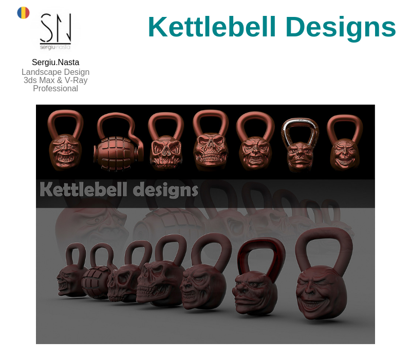 A photo of the Kettlebell Designs created on ZBrush.