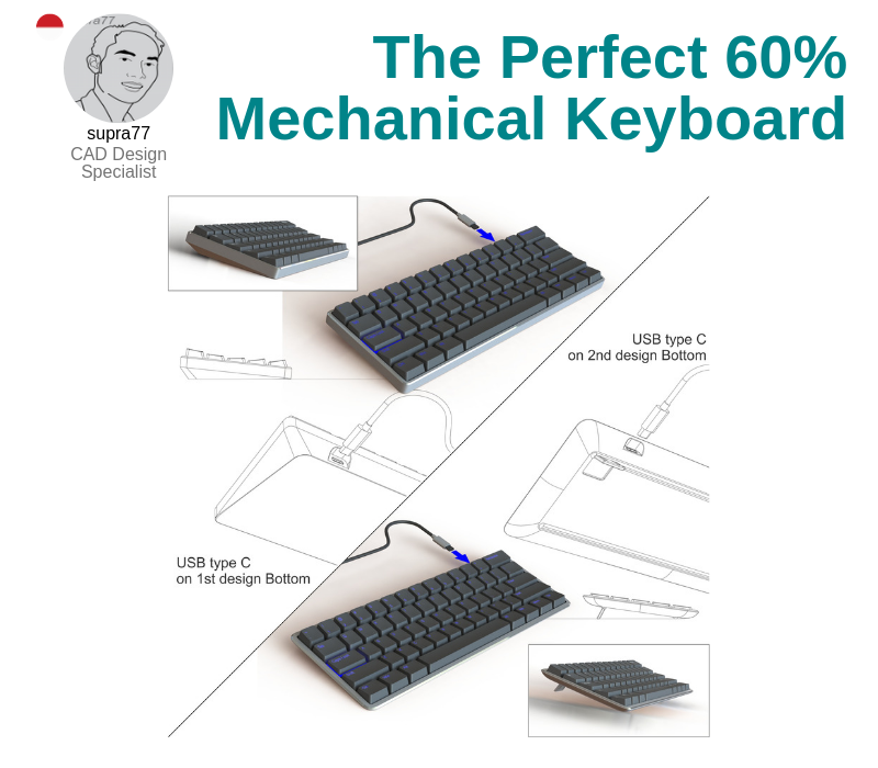 A photo of The Perfect 60% Mechanical Keyboard created on CAD and SolidWorks.
