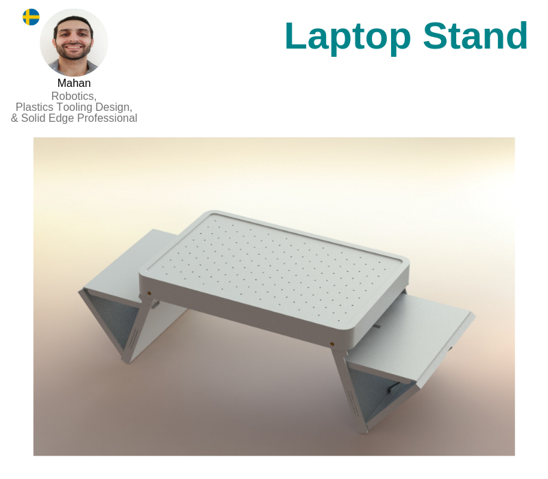 A photo of the Laptop Stand created on SolidWorks.