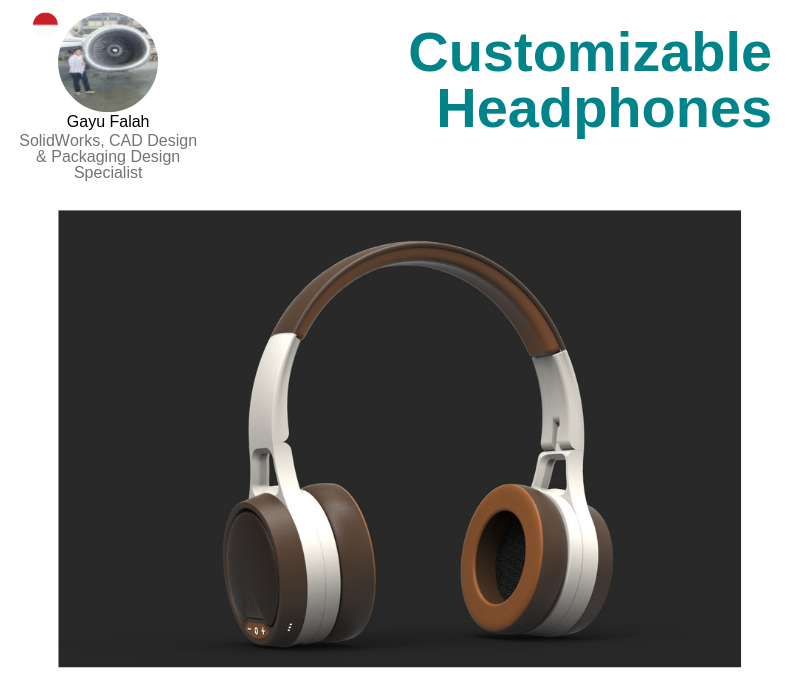 A photo of the Cutomizable Headphones created on SolidWorks.