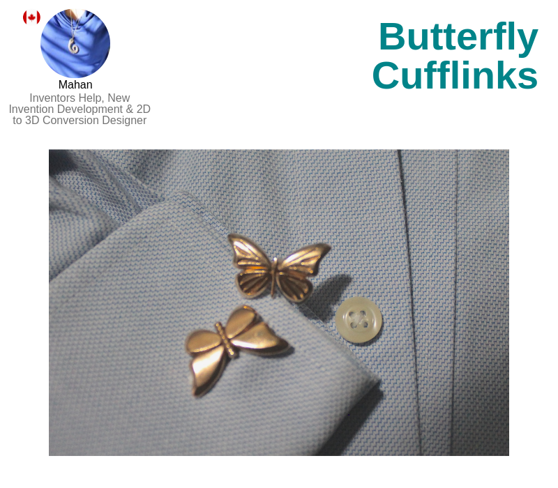 A photo of the Butterfly Cufflinks.