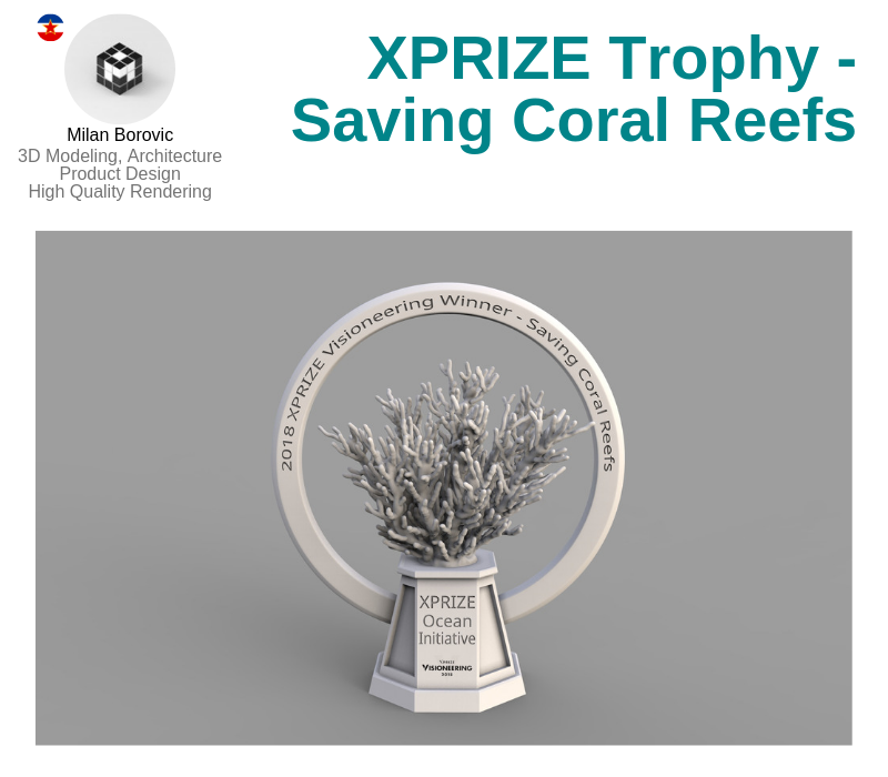 A photo of the XPRIZE Trophy for Saving Coral Reefs.