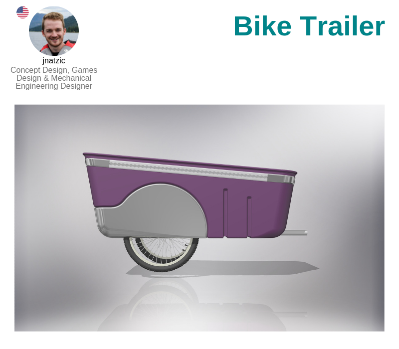 A photo of the Bike Trailer created on Autodesk Inventor.