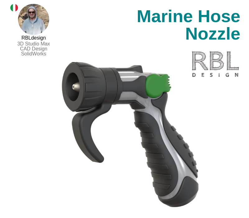 A photo of the Marine Hose Nozzle created on SolidWorks.