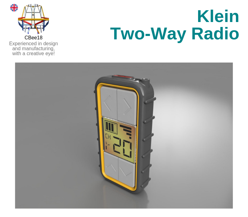 A photo of the Klein Two-Way Radio created on Autodesk Fusion 360.