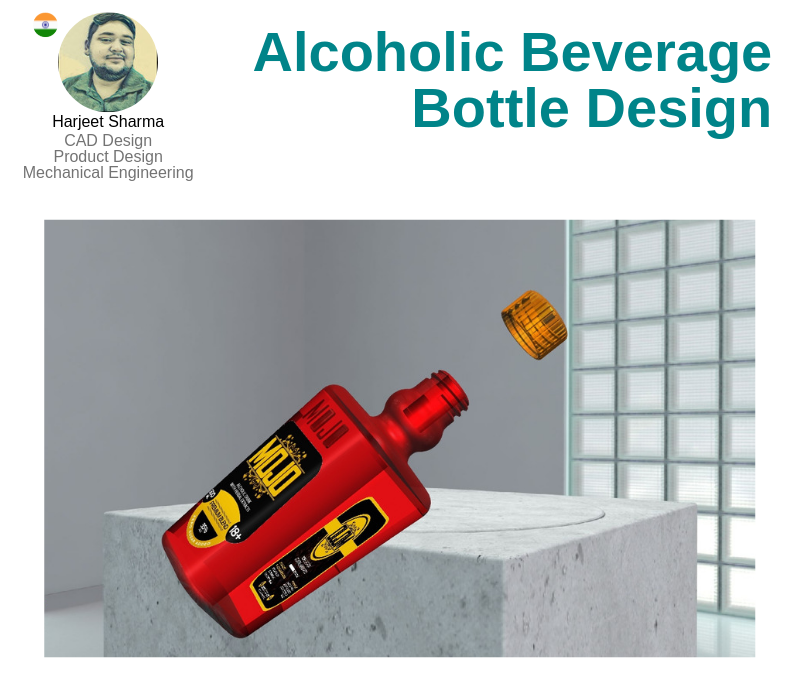 A photo of the Alcoholic Beverage Bottle Design created on Siemens Unigraphics NX.