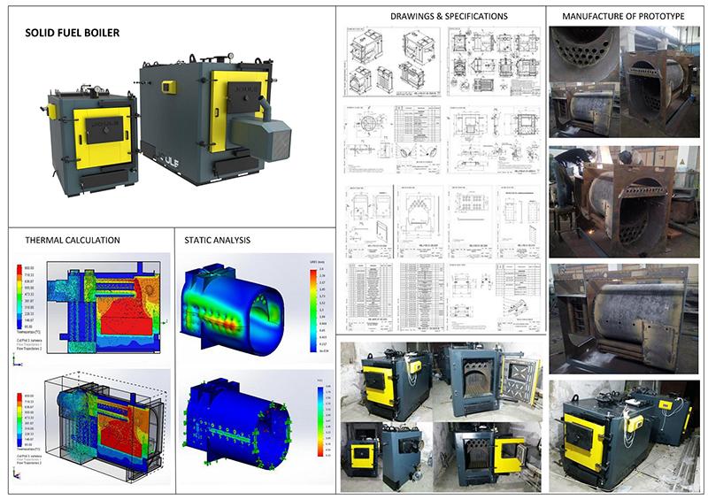 Solid fuel boiler industrial design