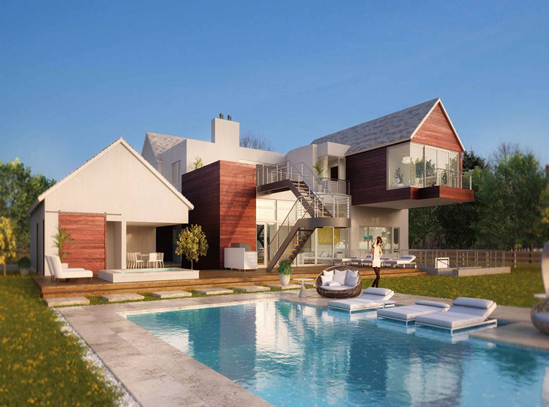 3D-redering-residential-house-with-pool