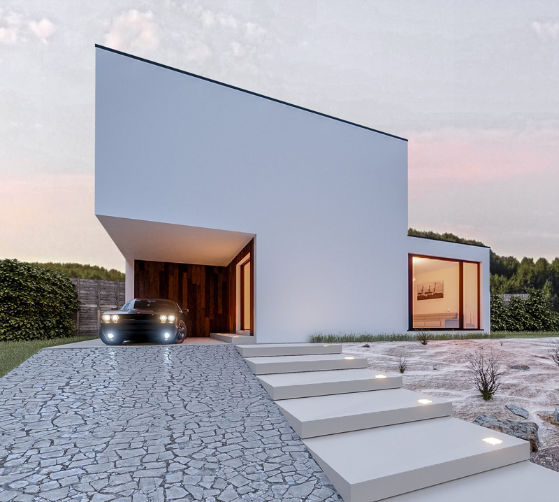 3D-rendering-house-facade-with-car