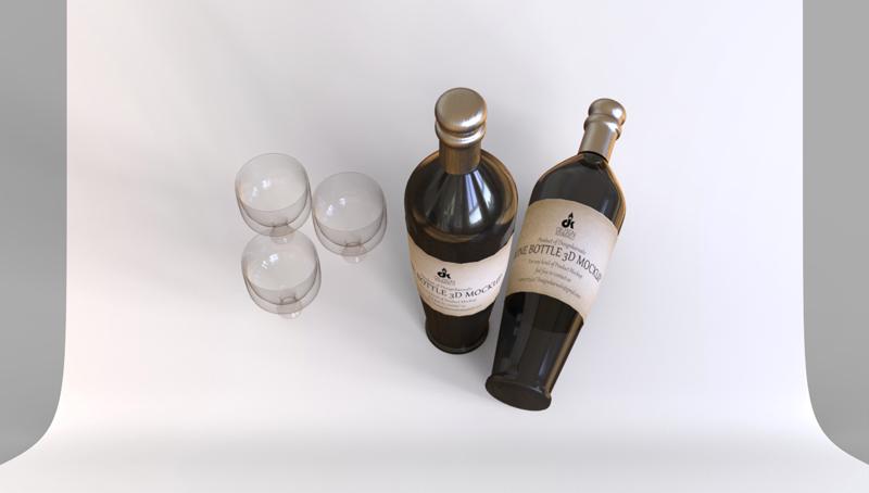 3D-rendering-wine-bottles