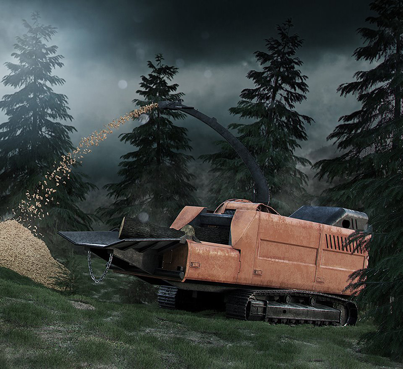 Photorealistic-3D-rendering-forest-clipper-machine