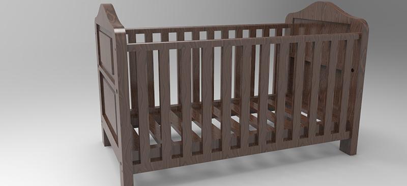 Baby-bed-3D-rendering