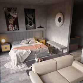 3D architectural rendering of an apartment