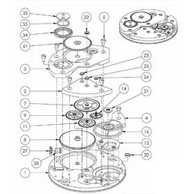 Assembly drawing of manual mechanical watch