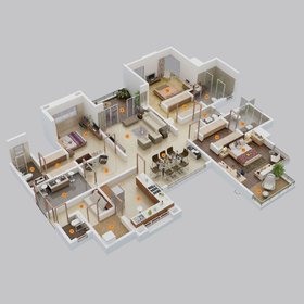 Large apartment floor plan rendering