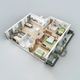 3-bedroom apartment floor plan rendering