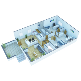 Health clinic floor plan rendering