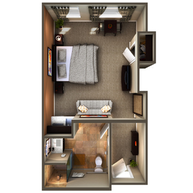 Hotel room floor plan rendering