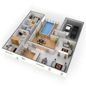 House with pool floor plan rendering